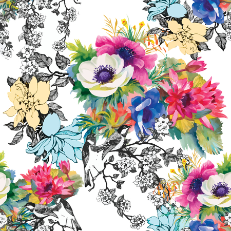retro design: Seamless pattern watercolor flowers, paper, textile, fabric, wrapper, wallpaper,vector Illustration