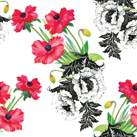 wrapper: Seamless pattern watercolor flowers, paper, textile, fabric, wrapper, wallpaper,vector Illustration