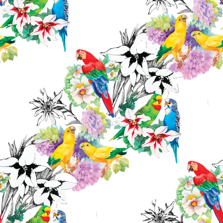Watercolor parrots on a floral background. Seamless pattern.