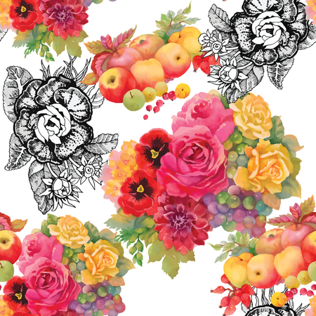 orange roses: Seamless floral pattern with of red and orange roses on white background. Vector illustration.