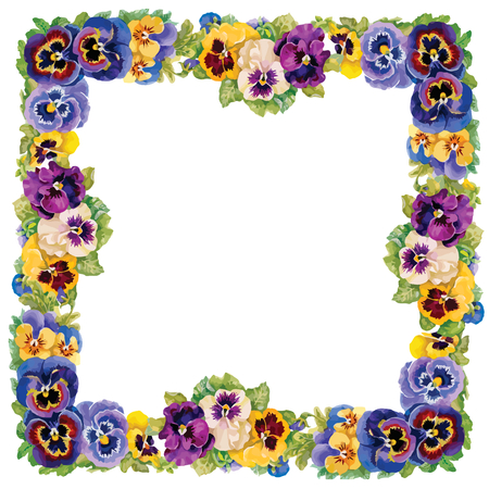 colorful frame: Colorful floral frame on white background