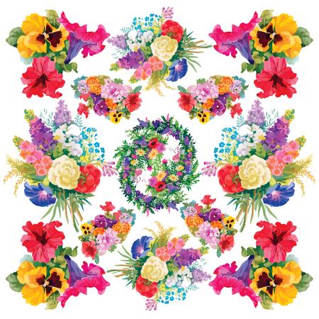 ramo de flores: Marco colorido de flores sobre fondo blanco Vectores