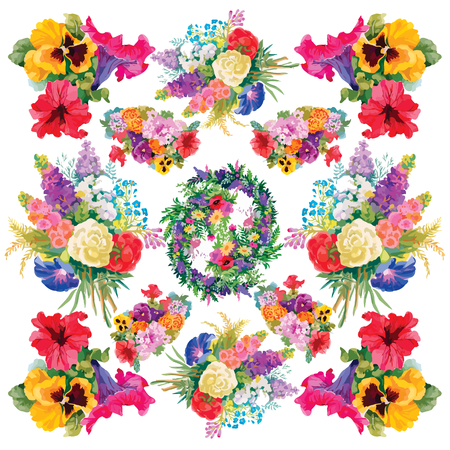 Colorful floral frame on white background