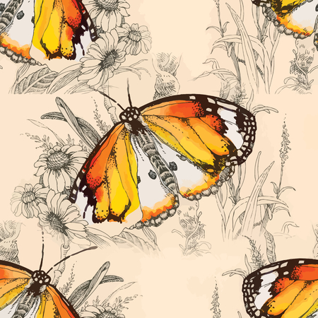 Seamless watercolor butterfly pattern. Vector illustration Vettoriali