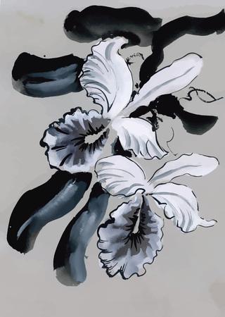 japanese garden: Watercolor garden flowers isolated on white background, Japanese style vector illustration. Illustration