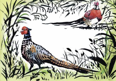 exotic birds: Watercolor wild exotic birds on flowers.