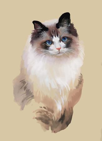 Watercolor portrait of cat illustration vector,
