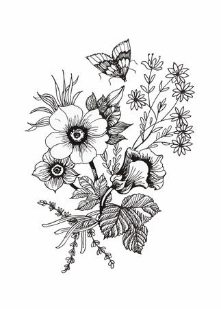 Beautiful monochrome, black and white flower isolated. Hand-drawn contour lines and strokes Ilustração