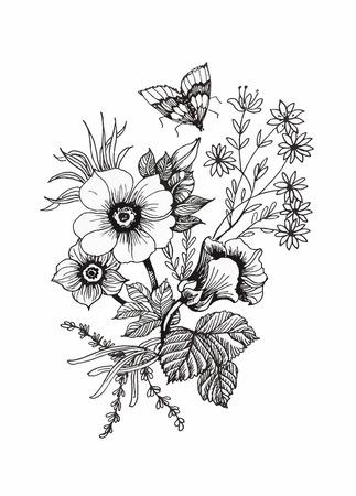 tatouage fleur: Belle monochrome, noir et fleur blanche isolés. Lignes et traits contour dessinées à la main Illustration