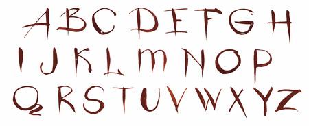 font design: Watercolor hand drawn alphabet. Vector illustration. Brush painted letters Illustration