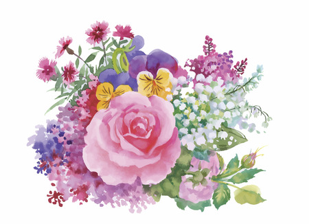 Watercolor flowers in a classical style on a white background.