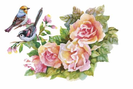 Watercolor wild exotic birds on flowers.