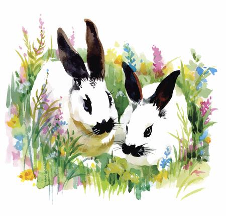 grass vector: Watercolor rabbits in green grass vector illustration.