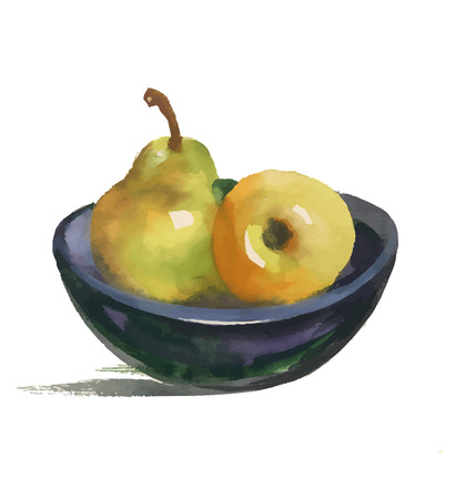 Watercolor still life with pear and apple on plate.