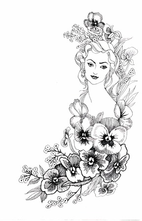 interesting: illustration, depicting a portrait of a beautiful young woman