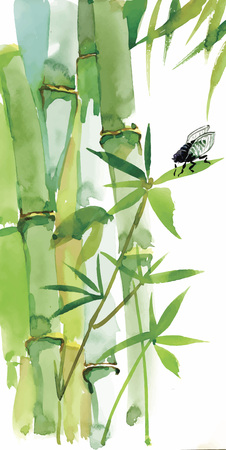 Decorative watercolor bamboo background for your design. Vertical watercolor branches on white background Vettoriali