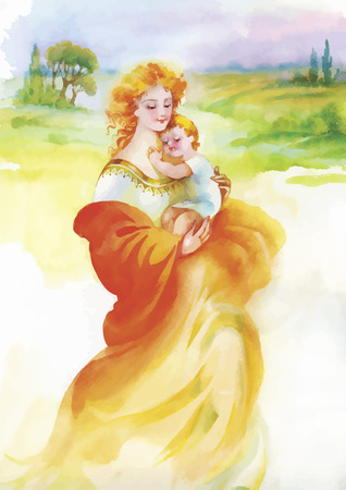 mother daughter: Woman in folk costume with child. Ethnic illustration. Beautiful mother silhouette with her children. Cards of Happy Mothers Day. Watercolor illustration Illustration