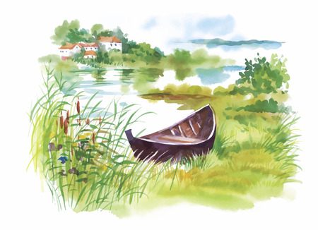 english village: Watercolor rural Landscape with boat vector illustration.