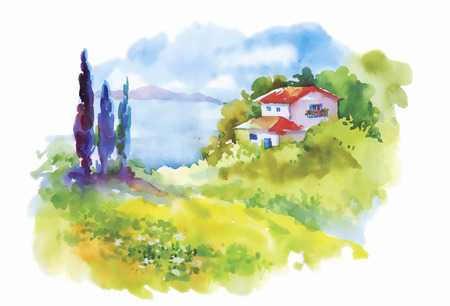 Watercolor rural village in green summer day illustration.