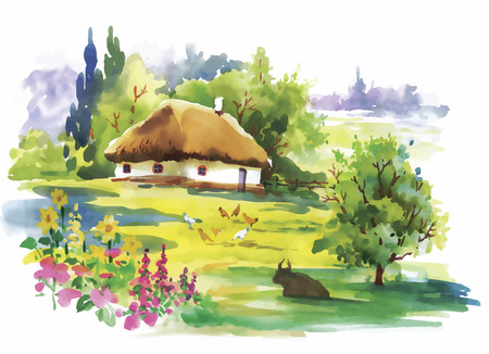 summer day: Watercolor rural village in green summer day illustration.