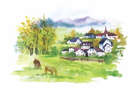 summer day: Acuarela pueblo rural en verde Ilustraci�n del d�a de verano.