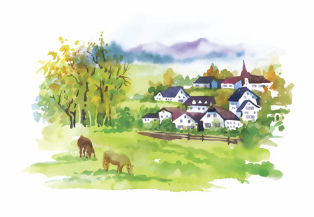 Watercolor rural village in green summer day illustration.