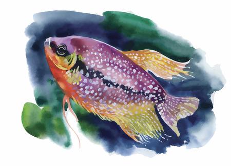 열대 물고기와 수채화 해양 생물 배경입니다. 일러스트