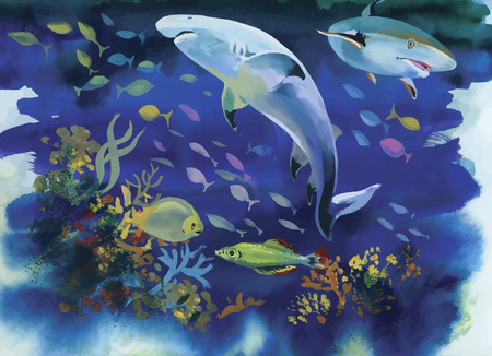realism: Shark watercolor painting vector illustration