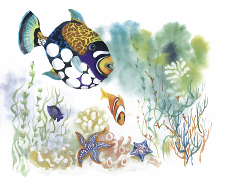 Watercolor Marine life background with Tropical fish. Vettoriali