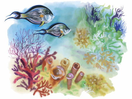 Watercolor Marine life background with Tropical fish. 일러스트