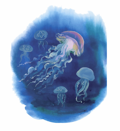 Watercolor Hand drawn jellyfish at Sea.
