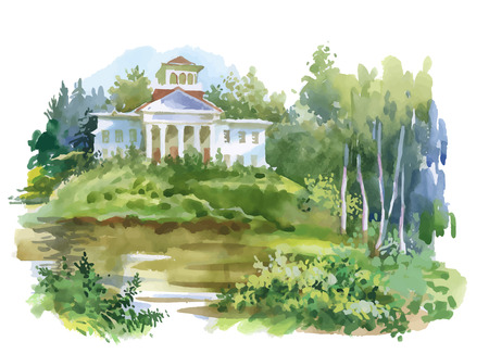 Watercolor painting of house in woods illustration.