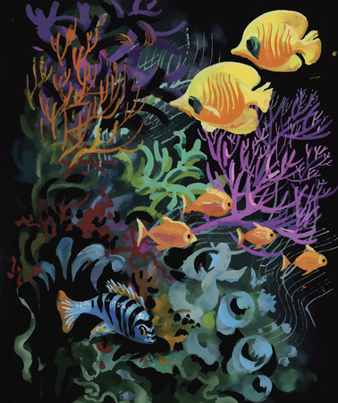Watercolor Marine life background with Tropical fish. 向量圖像