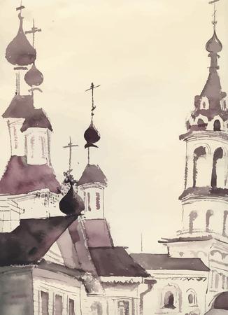 kopule: Sketch of an old church.