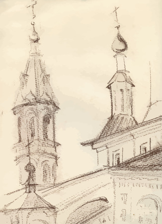 the old church: Sketch of an old church.