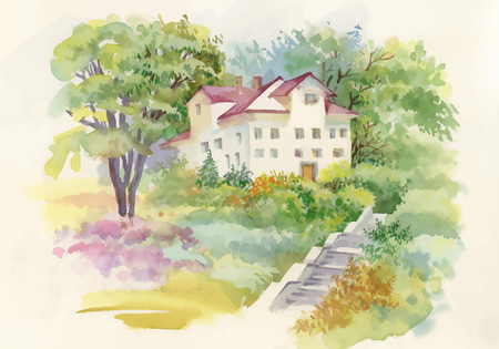 blue green landscape: Watercolor painting of house in woods illustration.