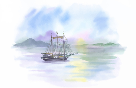 Watercolor Boat on river water vector illustration.