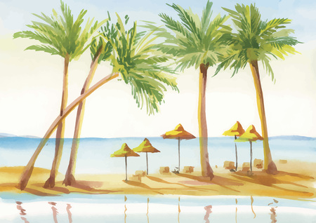 alley: Palm alley watercolor painting vector