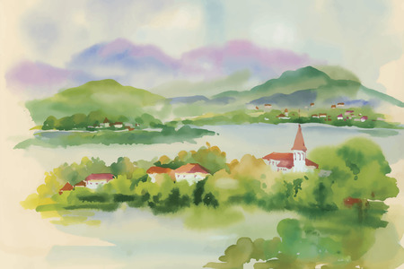 countryside landscape: Watercolor green summer landscape with trees at countryside. Illustration