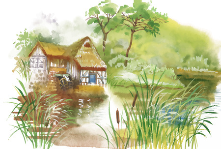 grass flowers: Watercolor rural village in green summer day illustration.