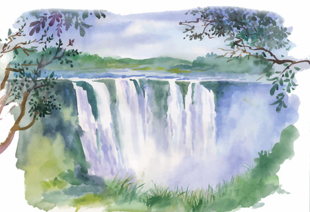 Watercolor illustration of beautiful waterfall. Ilustracja