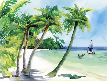 seagulls: Summer beach with palm trees, seagulls and boat on shore hand drawn vector.