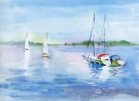 Acuarela del barco en el agua del río ilustración vectorial.