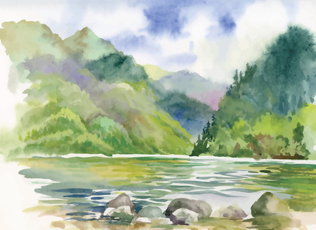 june: Watercolor summer river landscape vector