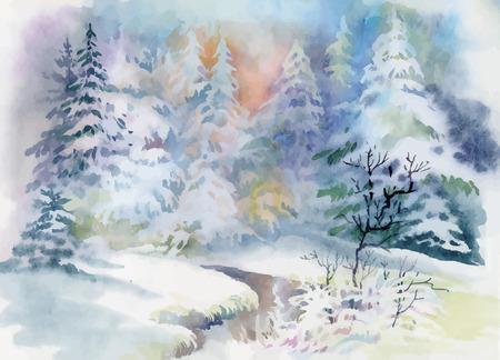 christmas watercolor: Watercolor winter landscape illustration vector. Illustration