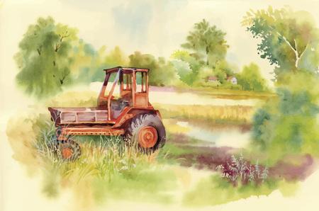 Acuarela tractor máquina en el patio. Equipo en el pueblo. Ilustración vectorial Foto de archivo - 45117261