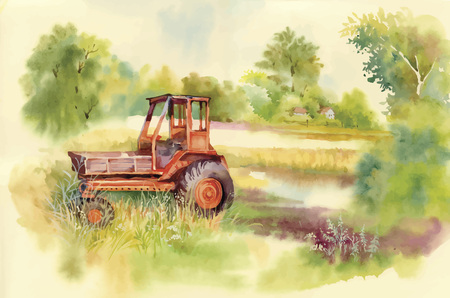 Watercolor tractor Machine in yard. Equipment in the village. Vector illustration