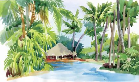 spiaggia: Spiaggia tropicale acquerello con palme e illustrazione vettoriale capanna.