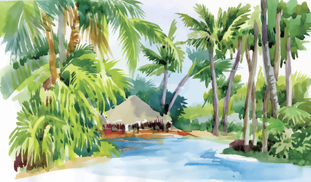 huts: Tropical watercolor beach with palm trees and hut vector illustration.