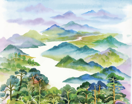 Watercolor summer river landscape vector illustration.
